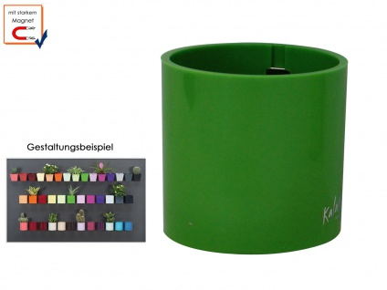 Kunststofftopf mit Magnet Ø 10 cm, Grün, Wandaufbewahrung Wanddeko, KalaMitica