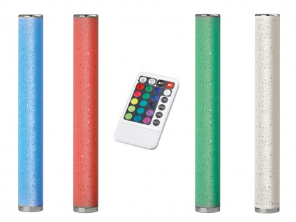 LED Stehleuchte dimmbar mit Stoffschirm schmale Stehlampe Lichtsäule Farbwechsel
