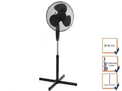 Standventilator Schwarz Ø 40cm, höhenverstellbar, 45W, 1250 U/min, Oszillierend