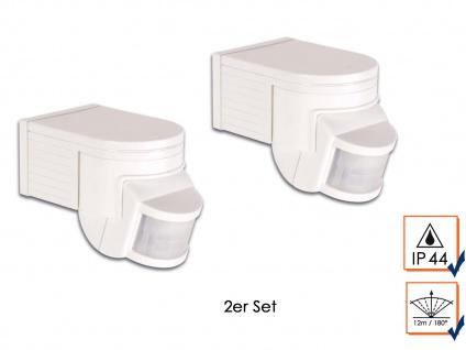 2er Set Weiße PIR Bewegungsmelder, 180°, 1200W, 12m, Bewegungssensor PIR Sensor