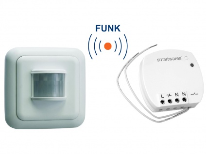 Funk Schalter Set = Mini Funk-Einbauschalter + Bewegungsmelder 400W 110°/6m