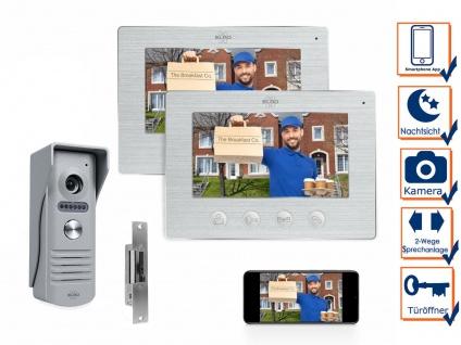 IP Türsprechanlage mit Türöffner, Video Türklingel 2 Monitore für 1 Familienhaus