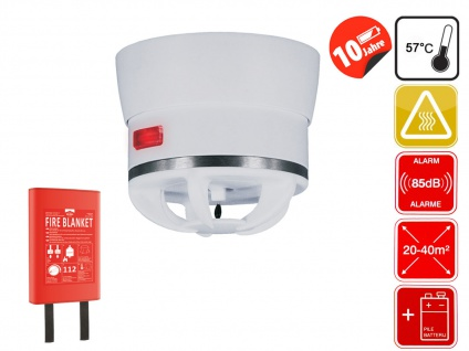 Brandschutz Set: Mini Wärmemelder & Feuerlöschdecke 180x120cm - Brandalarm 85dB