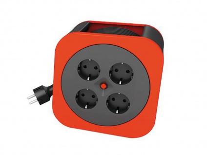 Handliche Kabelbox Kabeltrommel rot, 10M, Überhitzungsschutz Verlängerungskabel - Vorschau 2