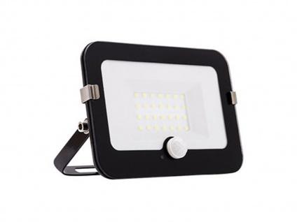 20 Watt LED Strahler schwarz, schwenkbarer Außenfluter mit Bewegungsmelder
