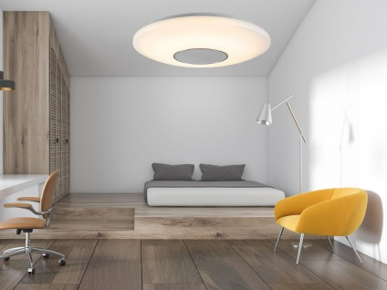 Dimmbare LED Deckenleuchte rund weiß mit Bluetooth Lautsprecher & Fernbedienung