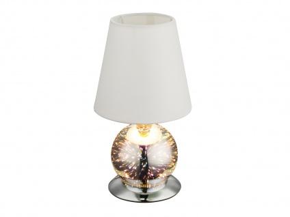 LED Tischleuchte 3D-Effekt, Lampenschirm Stoff weiß, Tischlampe Wohnraum Flur