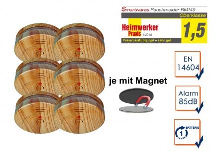 6er SET Rauchmelder Holzoptik mit EASY Magnethalterung, Feuermelder Feueralarm