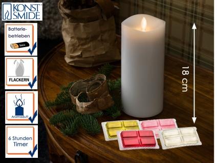 LED Duftkerze Echtwachs 6h Timer mit 4 Duftrichtungen H. 18cm Stimmungslicht