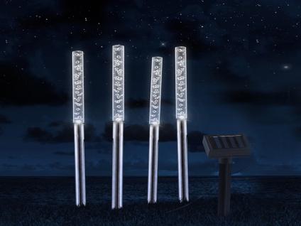 LED Erdspießleuchten mit separatem Solarpanel & Blasenpotik - Gartendeko 4er SET
