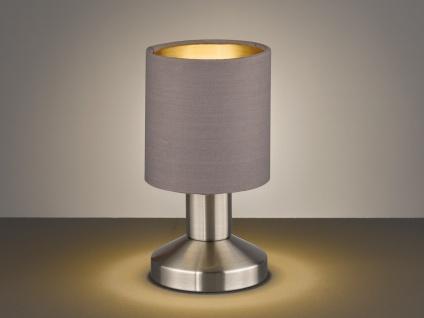 LED TOUCH Tischleuchte mit Stoffschirm Braungrau Designklassiker Nachttischlampe