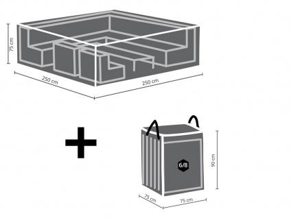 Schutzhüllenset: Abdeckung 250x250cm für Garten Lounge + Hülle für 6-8 Polster