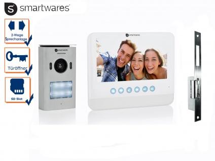 Einparteien Videosprechanlage LCD Bildschirm + Türöffner für weitöffnende Türen