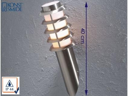 Konstsmide Energiespar Außenwandleuchte TRENTO, IP44 Wandlampe Fackel Edelstahl