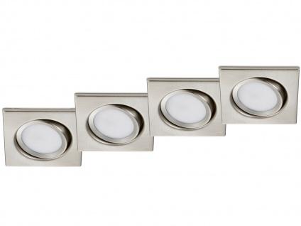 4 Stk. LED Einbaustrahler Decke eckig schwenkbar Nickel matt 5W Deckenleuchten