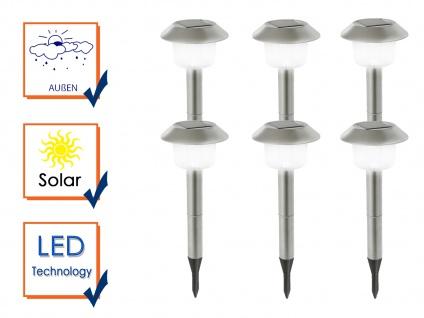 LED Außenbeleuchtung - Solar Erdspießlampen aus Edelstahl 6er SET für den Garten - Vorschau 3