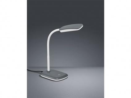 Moderne LED Schreibtischleuchte flexibel in Grau, 36cm hoch mit Touch Dimmer