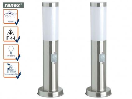 2er Set Edelstahl Außenleuchte mit Bewegungsmelder, Wegeleuchte Außenbeleuchtung