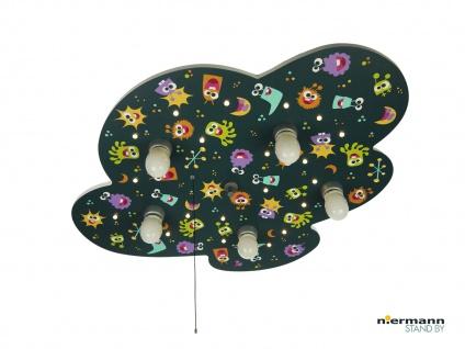 Deckenlampe Kinderzimmer Motiv bunte ALIENS, Zugschalter für LED Schlummerlicht