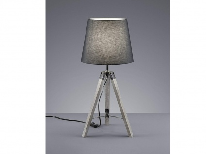 Ausgefallene LED Tischleuchte mit Holzfuß & Stoff Lampenschirm Ø26cm in Grau