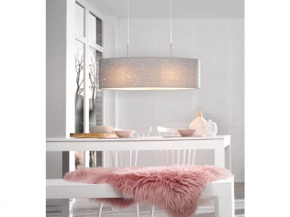 Honsel Pendelleuchte THOR, Stoffschirm oval grau Dekor, E27 Pendel Esstischlampe