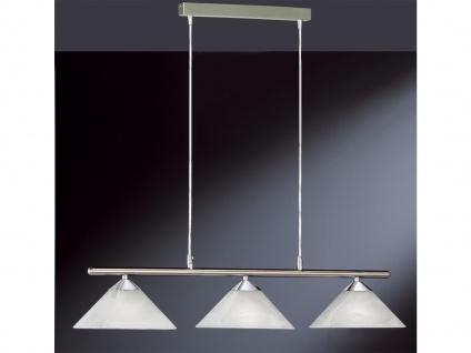 Pendelleuchte, Nickel matt mit Chrom, Glas weiß, Honsel-Leuchten, TRES