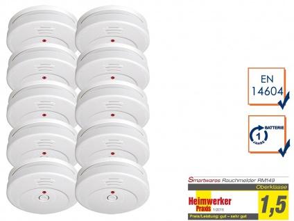 10er SET Smartwares Rauchwarnmelder TÜV zertifiziert - Brand Feuer Melder Alarm