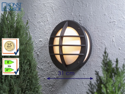 Außenwandleuchte 31cm, Wandlampe schwarz, Beleuchtung Haus Terrasse, Konstsmide