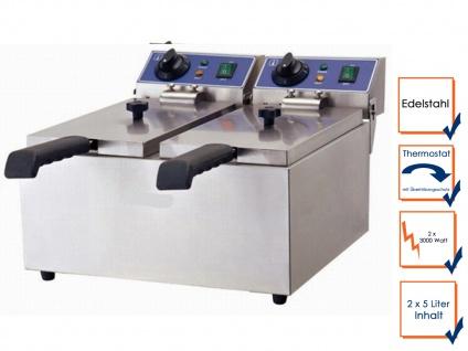Gastro Doppel Fritteuse 2 x 5L, Profi Elektro Edelstahl Fritteuse Friteuse