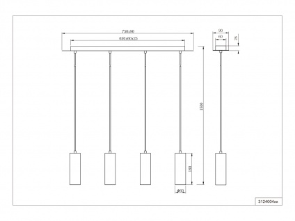 4 flammige Pendelleuchte für Wohnzimmer, Schlafzimmer, Küche aus weißem Metall - Vorschau 4