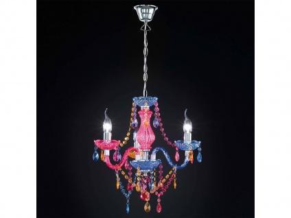 3 flammiger LED Kronleuchter Lüster klein Ø46cm mit buntem Acryl Kristall Behang