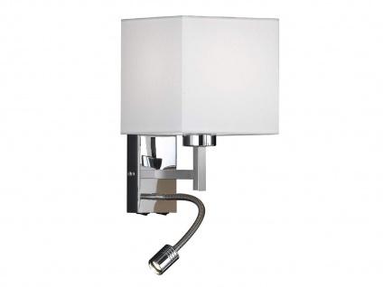 Kleine Wandlampe mit flexiblem LED Leselicht, Lampenschirm Textil weiß 16x16cm