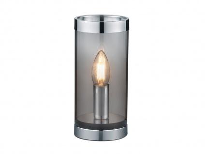 Kleine ausgefallene Tischleuchte Zylinder Tischlampe Nachttischlampe Rauchglas - Vorschau 2