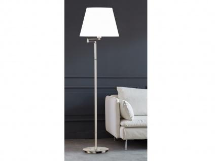 Stehleuchte Silber mit Lampenschirm rund Stoff Weiß verstellbar, Wohnzimmerlampe