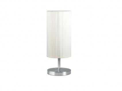 Attraktive Tischlampe, Stahl geb./weiß strukturierter Kunststoffschirm