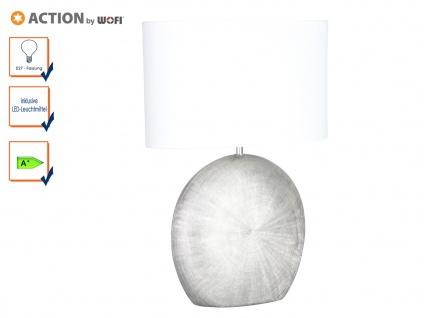 Tischleuchte LEGEND mit LED, H. 53cm, silber/weiß, Keramik & Stoff, Tischlampen