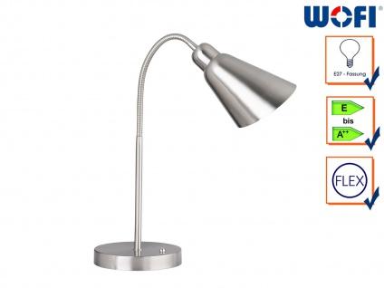 Flexible Schreibtischleuchte Nickel matt / Chrom E27, Nachttischlampe Bürolampe