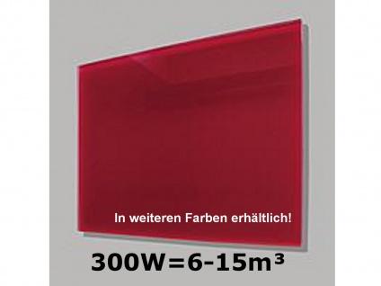 300W Infrarot-Glaspaneel rot, 70x50cm, für Räume 6-15m³, IP44