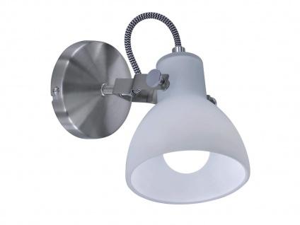 1 fl. LED Wandstrahler dreh-und schwenkbar in Nickel matt mit Glasschirm in weiß - Vorschau 2