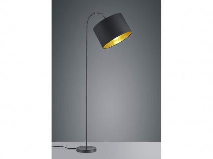 LED Standleuchte mit Flexarm, moderner TEXTIL Lampenschirm Ø35cm in schwarz/gold