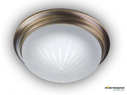 Decken Leuchte rund Ø 30cm Schliffglas satiniert, Altmessing gewölbt Wandlampe