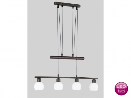 LED Pendelleuchte höhenverstellbar, Hängelampe antik Glas weiß, Landhaus Trio