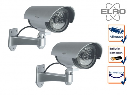 2er Set Kamera Attrappe IR-LED's Aluminium silber - Fake Dummy Innen & Außen