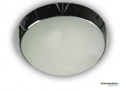 Flurleuchte Design Dielen Lampe Wandlampe Ø40cm Alabaster Lampe Zierring Chrom