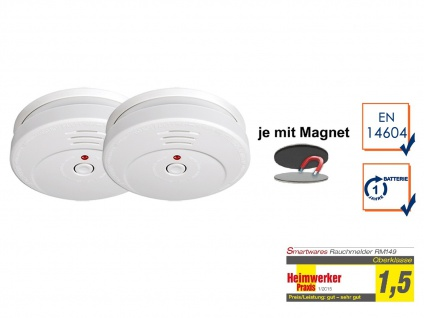 2er SET Rauchmelder TÜV zertifiziert & EASY Magnetmontage, Brand Feuer Melder
