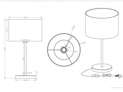 Design LED Tischlampen mit rundem Stoffschirm Weiß Ø30cm - fürs Wohnzimmerlampen - Vorschau 5