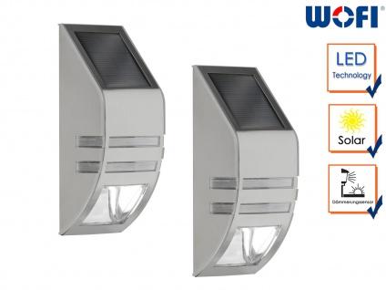 2 LED Außenwandleuchten mit Solar Edelstahl 6000K, Fassadenbeleuchtung Downlight
