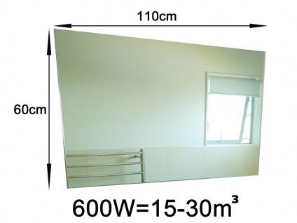 600W Infrarot Spiegelheizung fürs Bad, 110x60cm, für Räume 15-30m³