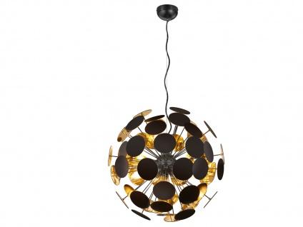 Edle LED Pendelleuchte Lampenschirm Schwarz matt / Gold Ø 54cm - Wohnzimmerlampe