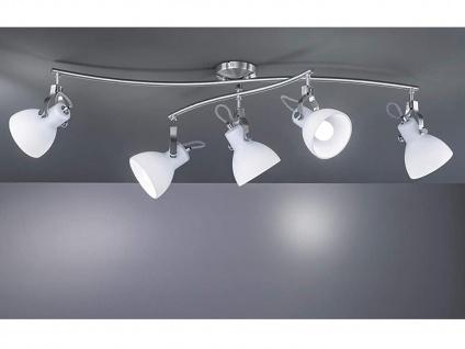 5-fl. LED Strahler mit dreh+ schwenkbaren Spots mit weiße Glaslampenschirmchen